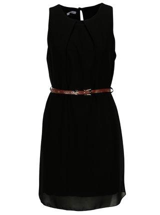 Čierne šaty s hnedým opaskom Haily's Tanja
