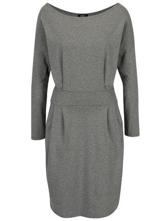 Sivé puzdrové šaty s vreckami a dlhým rukávom ZOOT