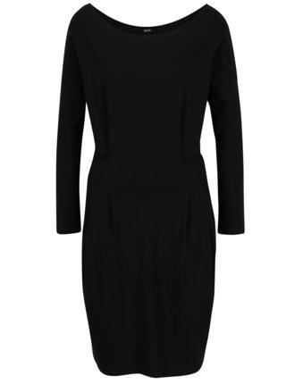 Čierne puzdrové šaty s vreckami a dlhým rukávom ZOOT