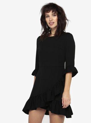Čierne asymetrické šaty s volánmi Miss Selfridge