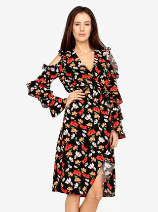Čierne kvetované šaty s volánmi a prestrihmi na ramenách MISSGUIDED