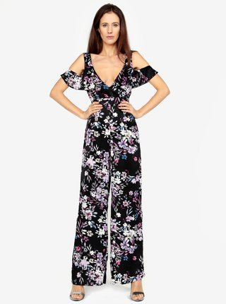 Salopeta lunga neagra cu print floral si cold shoulder - MISSGUIDED