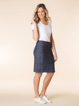 Modrá vzorovaná sukňa s pruhmi na bokoch Yest