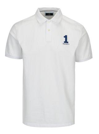 Tricou polo alb cu broderie - Hackett London New Classic