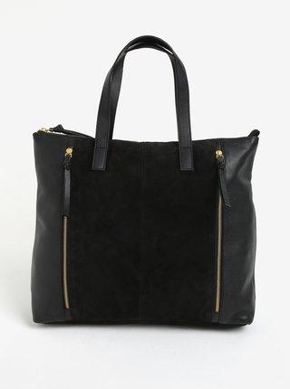 Černá kožená kabelka se semišovou částí Pieces Ileana
