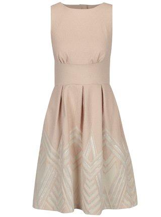 Svetloružové šaty so vzorovanou sukňou Closet
