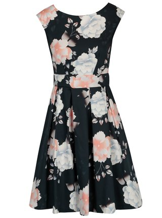 Tmavomodré kvetované šaty Closet