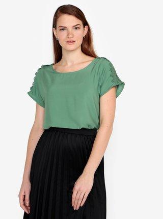 Zelené tričko s čipkou na ramenách VERO MODA Lacey