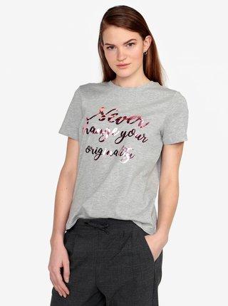 Tricou gri cu print - VERO MODA Henny