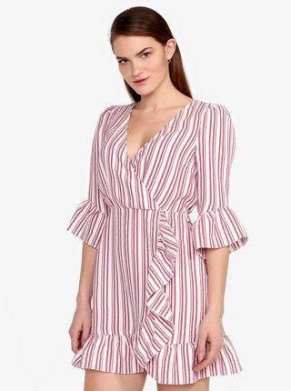 Krémovo–červené pruhované šaty s volánmi Miss Selfridge
