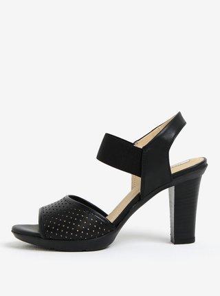 Čierne dámske kožené sandále na podpätku Geox Jadalis