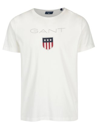 Biele pánske tričko s krátkym rukávom a potlačou loga GANT