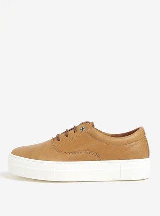 Pantofi sport maro din piele cu platforma - OJJU