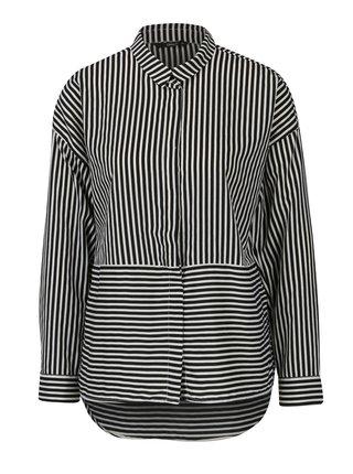 Bílo-černá pruhovaná košile s dlouhým rukávem ONLY Elena