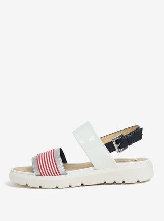Krémovo-červené pruhované sandále na platforme Geox Amalitha
