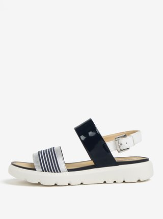 Krémovo-modré pruhované sandále na platforme Geox Amalitha