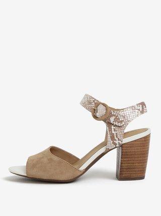 Béžové semišové sandálky na podpatku Geox Eudora