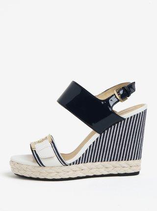Krémovo-modré sandálky na klínu Geox Janira