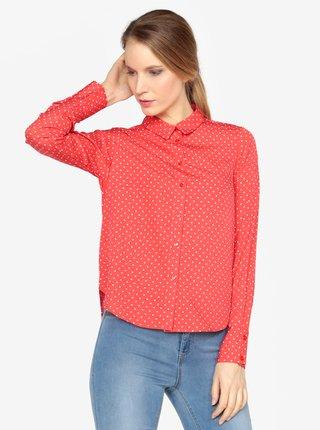 Krémovo-červená puntíkovaná košile VERO MODA Nicky