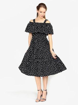 Čierne vzorované šaty s odhalenými ramenami VERO MODA Loka