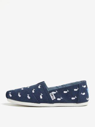 Pantofi slip on albastru inchis de dama cu motiv balene TOMS