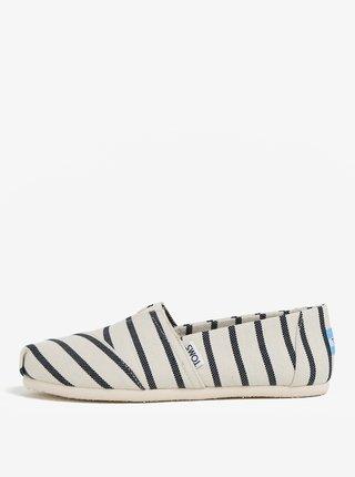 Pantofi slip on negru-crem in dungi de dama TOMS