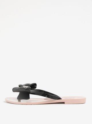 Ružovo-čierne žabky s mašľou na špičke Melissa Harmonic