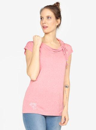 Tricou roz cu guler si snur asimetric  Ragwear Lorna