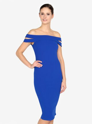 Modré pouzdrové šaty s odhalenými rameny AX Paris