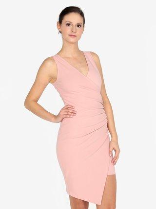 Rochie asimetrica roz cu croi suprapus  AX Paris