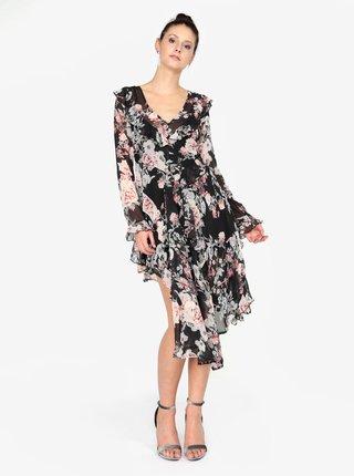 Rochie neagra cu print floral si volane MISSGUIDED