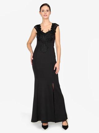 Rochie maxi neagra cu dantela pe decolteu si la spate - AX Paris