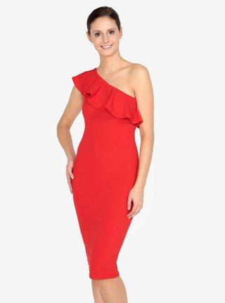 Červené asymetrické šaty s volánem AX Paris