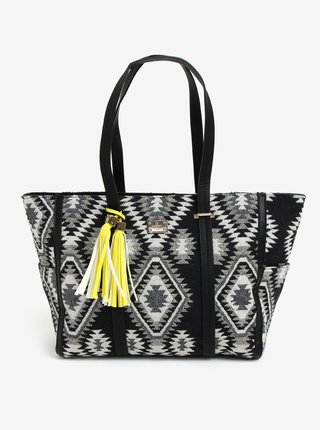 Geanta shopper neagra cu model aztec  Bessie London