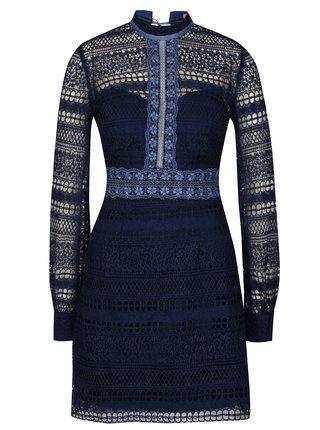 Tmavomodré čipkované šaty Chi Chi London Zosia