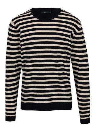 Tmavomodrý pruhovaný sveter SUIT