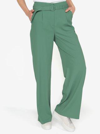 Zelené volné kalhoty s vysokým pasem a páskem VERO MODA Emmy