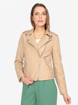 Béžová koženková bunda s asymetrickým zipsom Miss Selfridge