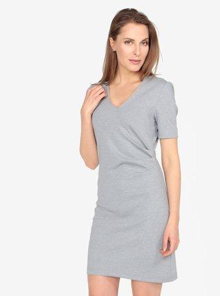 367e38525e11 Svetlosivé melírované šaty s véčkovým výstrihom a riasením VERO MODA Jenny