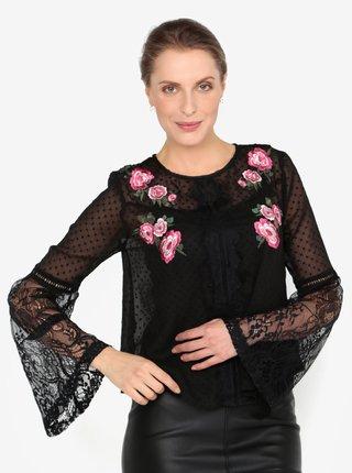 Bluza neagra cu aspect 2 in 1 si dantela - Miss Selfridge