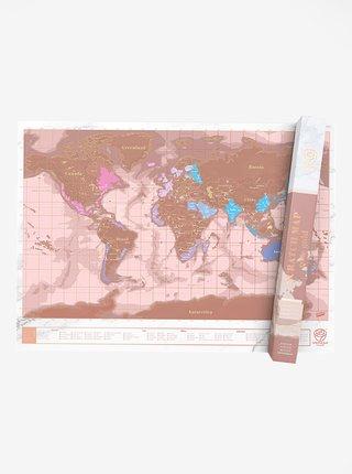 Nástěnná stírací mapa v růžovozlaté barvě Luckies