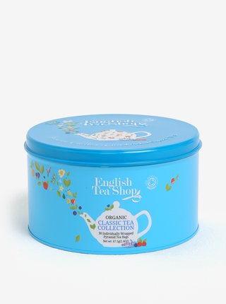 Cutie metalica bleu cu ceai organic asortat - English Tea Shop