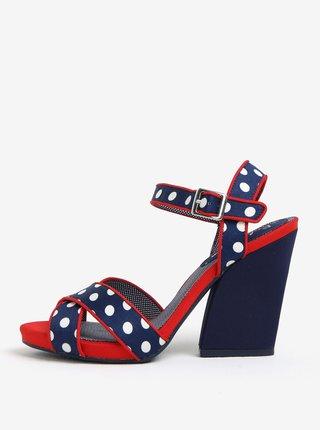 Sandale bleumarin & rosu cu toc inalt si print -  Ruby Shoo Evie