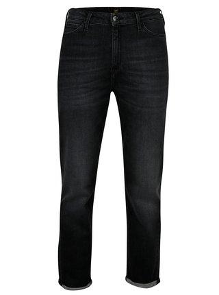 Tmavě šedé dámské zkrácené mom straight džíny s vysokým pasem Lee