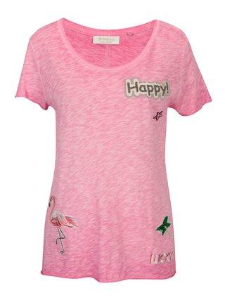 Tricou roz cu strasuri si patch-uri - Rich & Royal