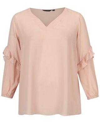 Bluza roz prafuit cu volane pe maneci Dorothy Perkins Curve