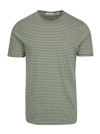Krémovo-zelené pruhované tričko ONLY & SONS Albert Stripe