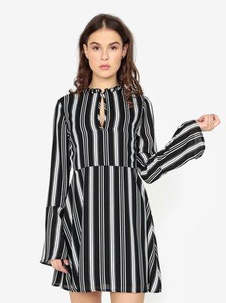 Čierne pruhované šaty s dlhým rukávom MISSGUIDED