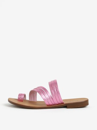 Sandale roz metalic cu barete subtiri din piele Pieces Mavis