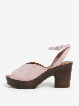 Hnědo-růžové semišové dřeváky na podpatku Pieces Mika